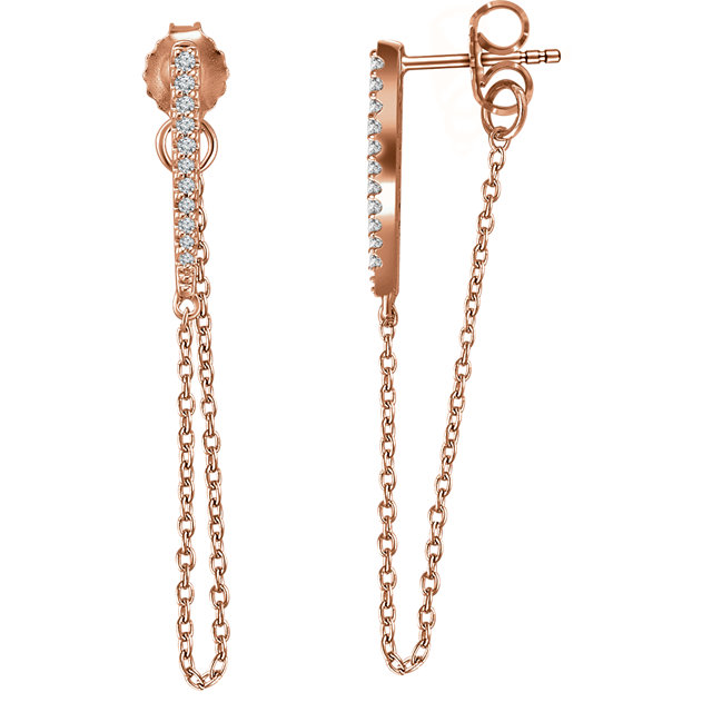 Shop Real 14 KT Rose Gold 0.10 Carat TW Diamond Chain Earrings