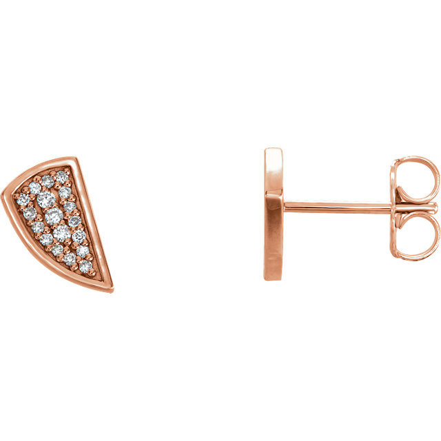 Appealing Jewelry in 14 Karat Rose Gold 0.10 Carat Total Weight Diamond Earrings