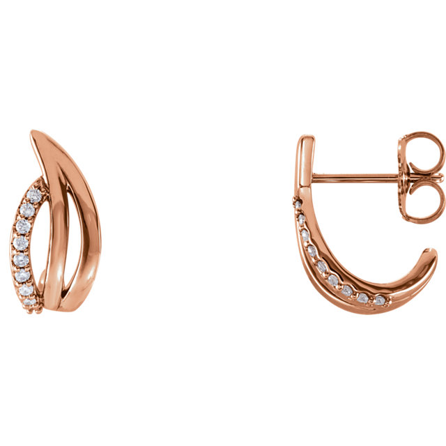 Surprise Her with  14 Karat Rose Gold 0.10 Carat Total Weight Diamond Freeform J-Hoop Earrings