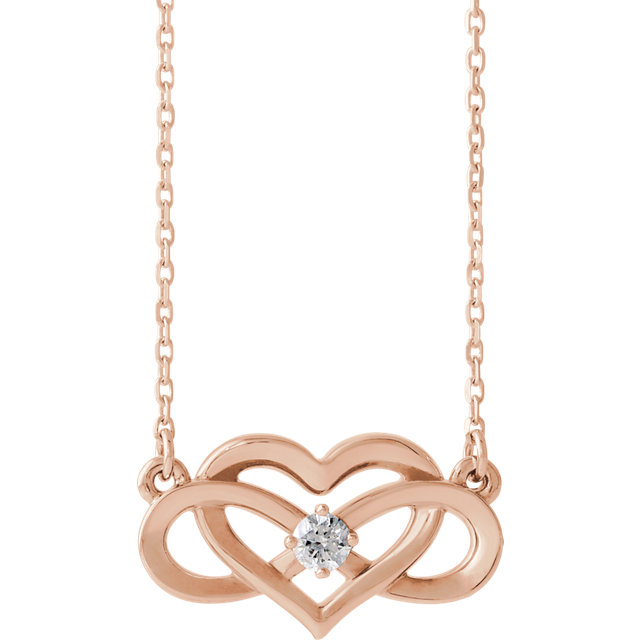 Appealing Jewelry in 14 Karat Rose Gold 0.10 Carat Total Weight Diamond Infinity-Inspired Heart 16-18