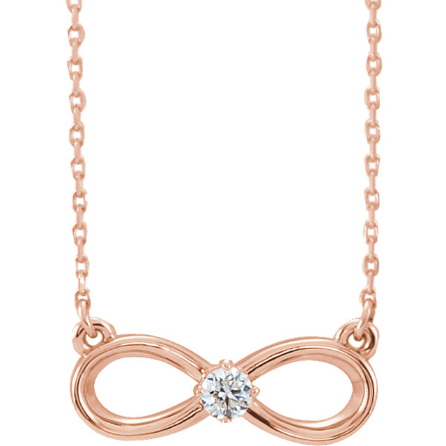 Low Price on Quality 14 KT Rose Gold 0.10 Carat Diamond Infinity-Inspired 16-18