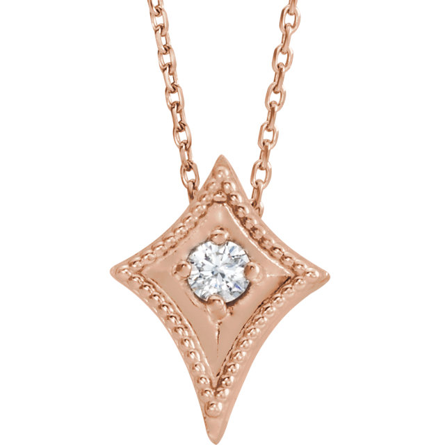 14 Karat Rose Gold 0.10 Carat Diamond Kite 16-18