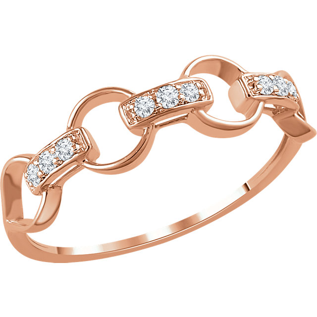 Quality 14 KT Rose Gold 0.10 Carat TW Diamond Link Ring