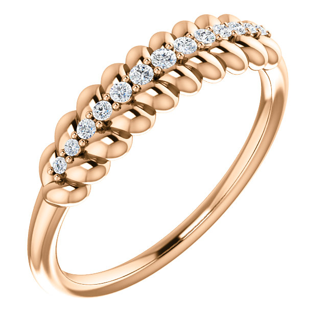 Buy Real 14 KT Rose Gold 0.10 Carat TW Diamond  Rope Ring
