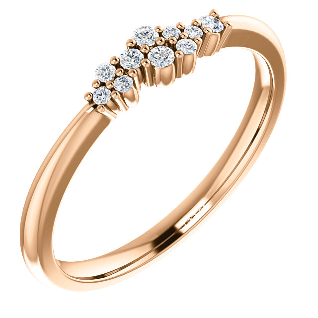 Genuine 14 KT Rose Gold 0.10 Carat TW Diamond Stackable Cluster Ring