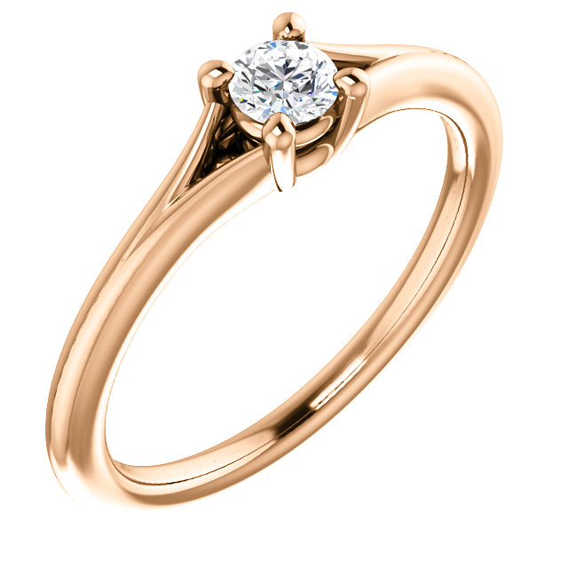Genuine 14 KT Rose Gold 0.10 Carat Diamond Youth Ring