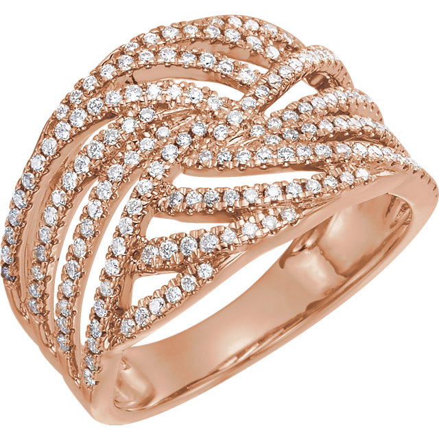 14 Karat Rose Gold 0.50 Carat Diamond Accented Criss-Cross Ring