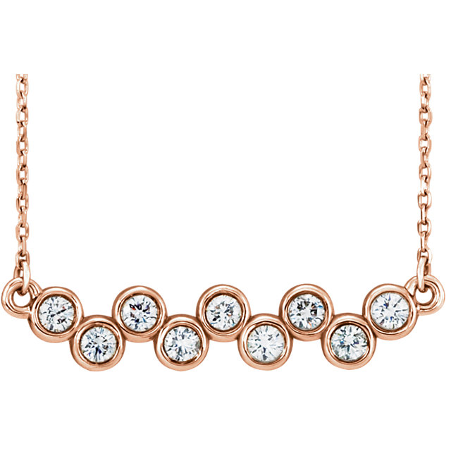 Buy 14 Karat Rose Gold 0.50 Carat Diamond Bezel-Set Bar 16-18