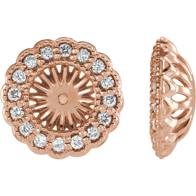 Beautiful 14 Karat Rose Gold 0.50 Carat Total Weight Diamond Earring Jackets