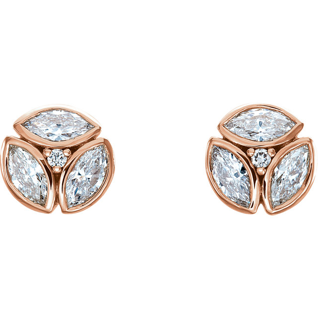 Fine Quality 14 Karat Rose Gold 0.50 Carat Total Weight Diamond Earrings