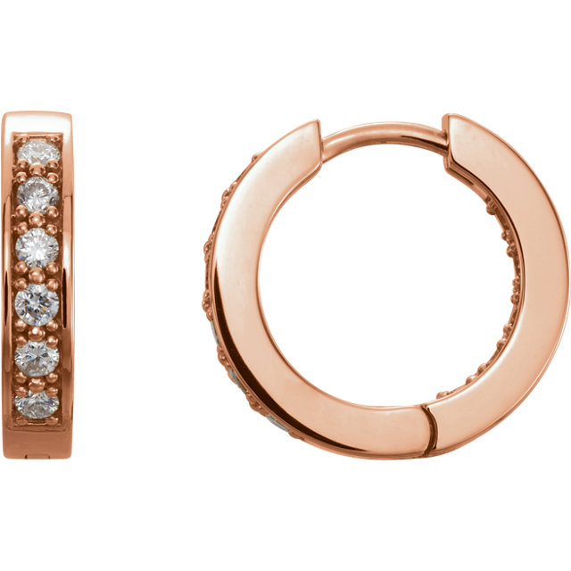 Fine Quality 14 Karat Rose Gold 0.50 Carat Total Weight Diamond Hoop Earrings