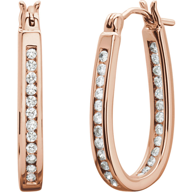 Great Deal in 14 Karat Rose Gold 0.50 Carat Total Weight Diamond Inside/Outside Hoop Earrings