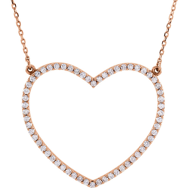 Wonderful 14 Karat Rose Gold 0.50 Carat Total Weight Diamond Large Heart 16
