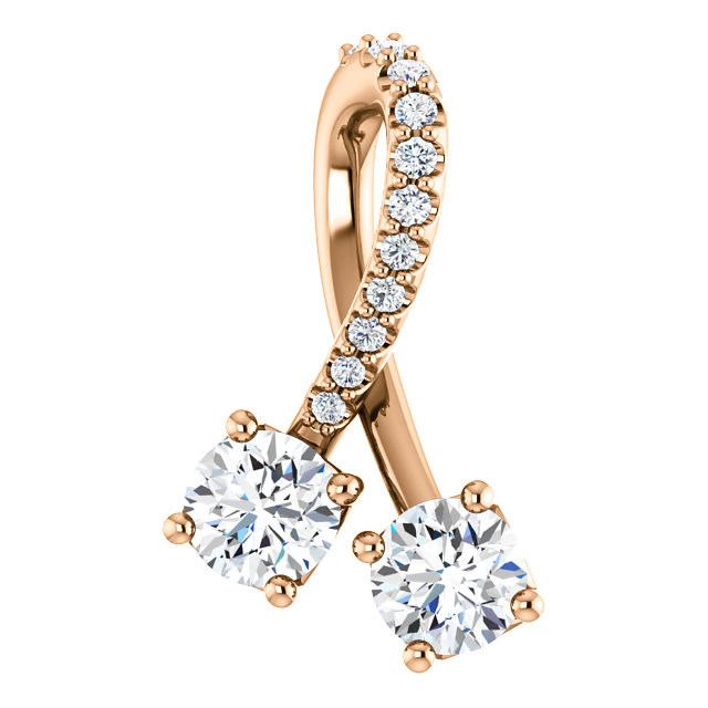 Surprise Her with  14 Karat Rose Gold 0.50 Carat Total Weight Diamond Pendant