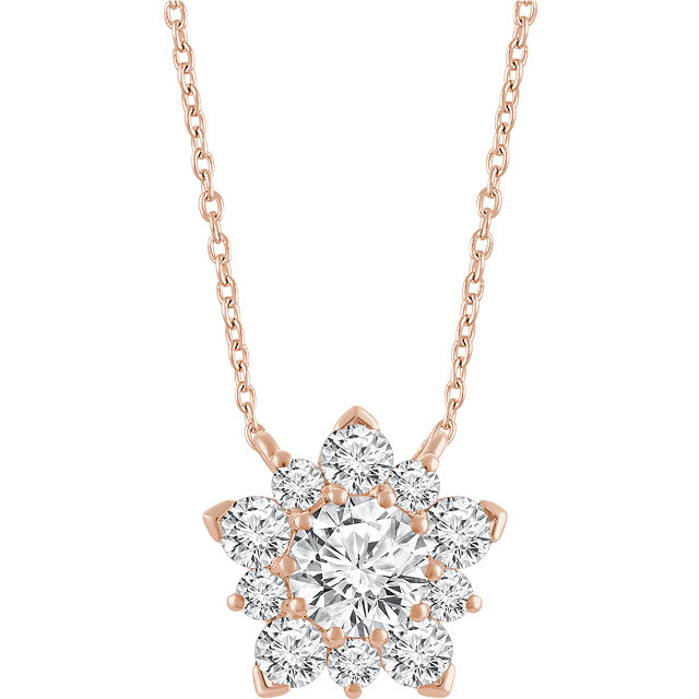 Beautiful 14 Karat Rose Gold 0.50 Carat Total Weight Diamond Semi-Set Cluster 16-18