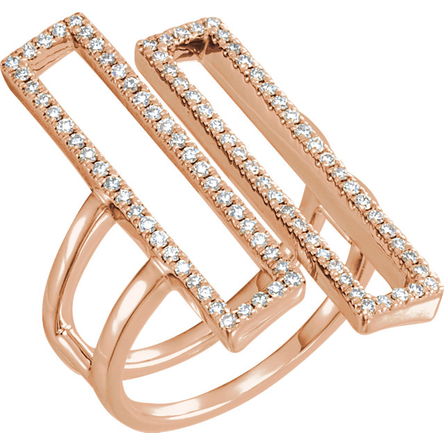 Shop 14 Karat Rose Gold 0.50 Carat Double ReCaratangle Geometric Diamond Ring