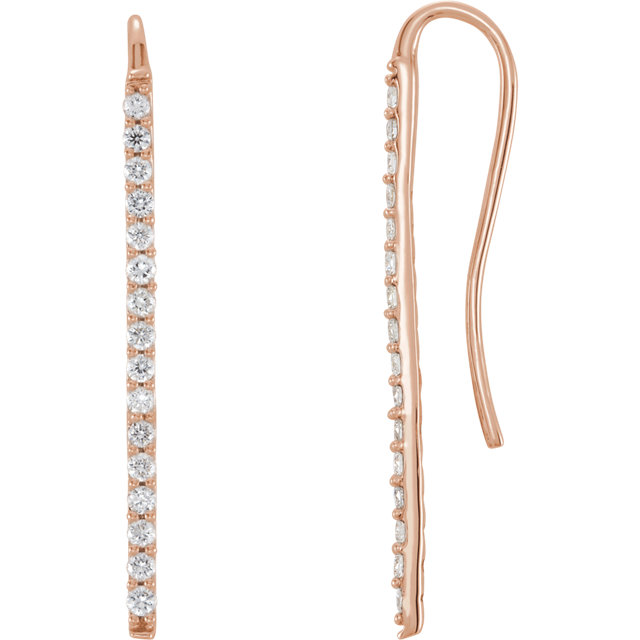 Contemporary 14 Karat Rose Gold 0.33 Carat Total Weight Diamond Bar Earrings