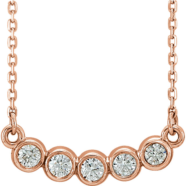 Eye Catchy 14 Karat Rose Gold  0.33 Carat Total Weight Diamond Bezel-Set 16-18