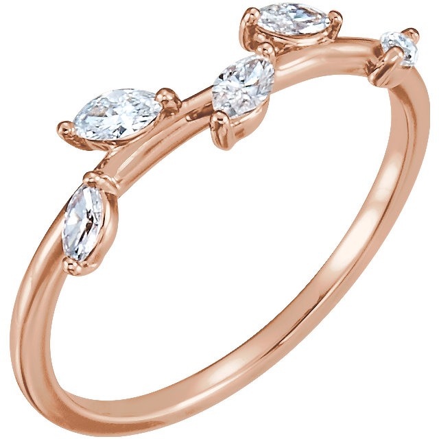 Genuine 14 Karat Rose Gold 0.33 Carat Diamond Leaf Ring