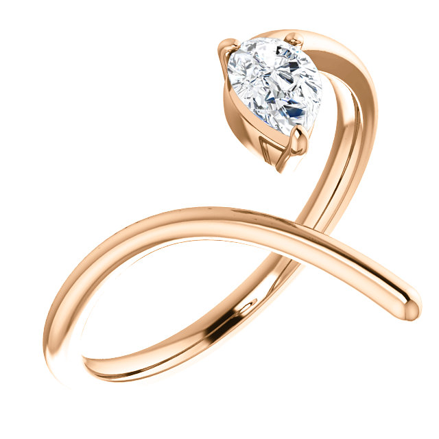 14 Karat Rose Gold 0.33 Carat Diamond Negative Space Ring