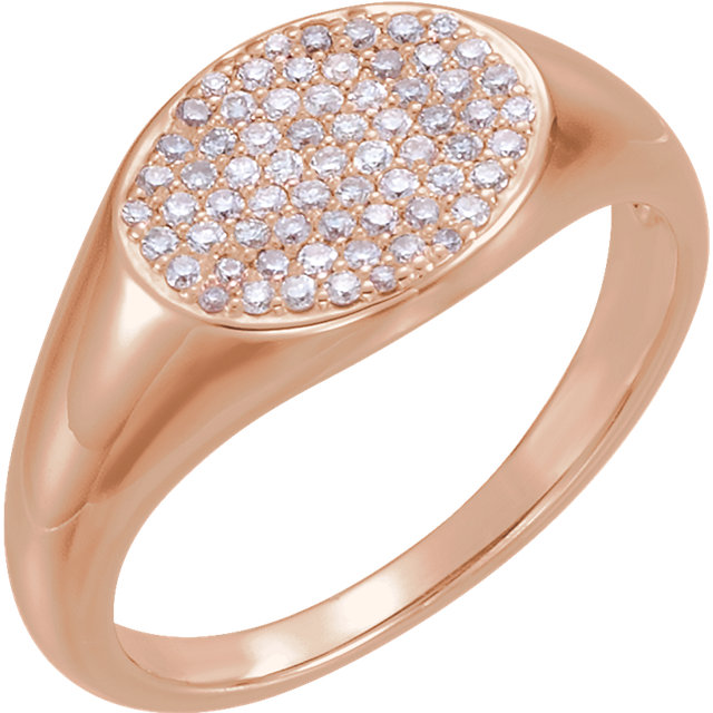 Classic 14 KT Rose Gold 1/3 Carat TW Round Genuine Diamond Pave Ring
