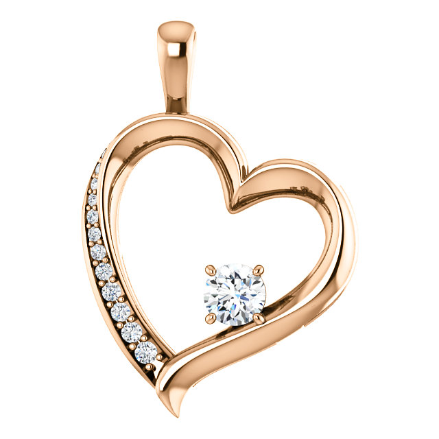 14 Karat Rose Gold 0.33 Carat Diamond Pendant