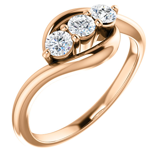 14 KT Rose Gold 0.33 Carat TW Diamond Ring