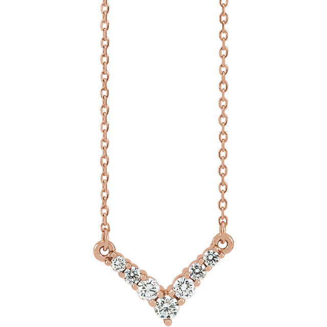 Appealing Jewelry in 14 Karat Rose Gold 0.33 Carat Total Weight Diamond