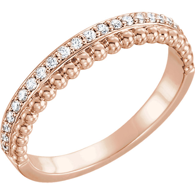 Genuine 14 Karat Rose Gold 0.25 Carat Diamond Beaded Ring