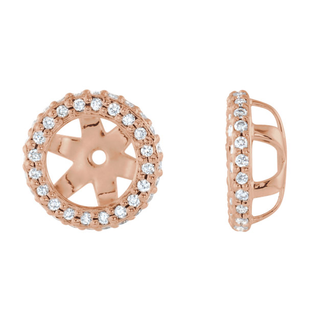 Beautiful 14 Karat Rose Gold 0.25 Carat Total Weight Diamond Earring Jackets