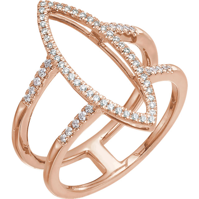 14 Karat Rose Gold 0.25 Carat Diamond Geometric Ring