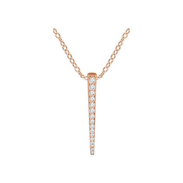 14 Karat Rose Gold 0.25 Carat Diamond Graduated Bar 16-18
