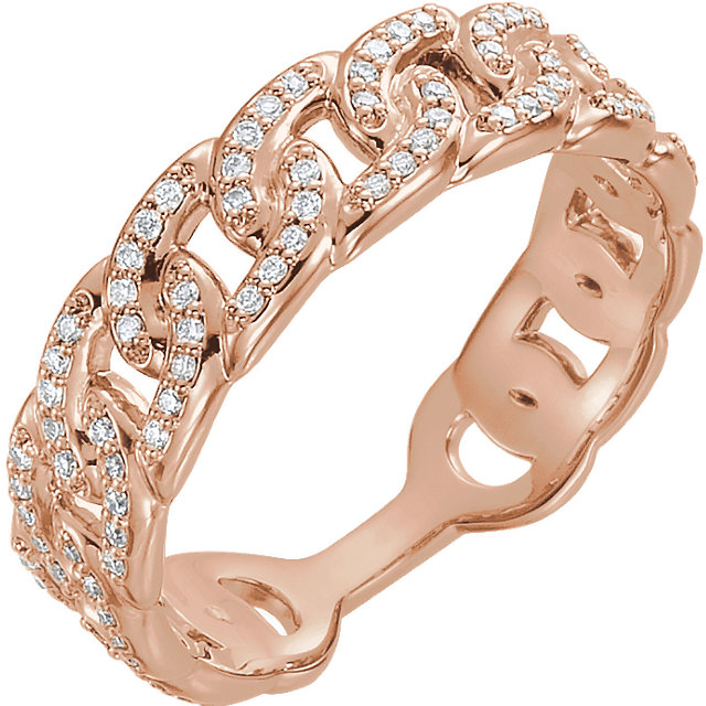 14 Karat Rose Gold 0.25 Carat Diamondterlocking Stackable Link Ring