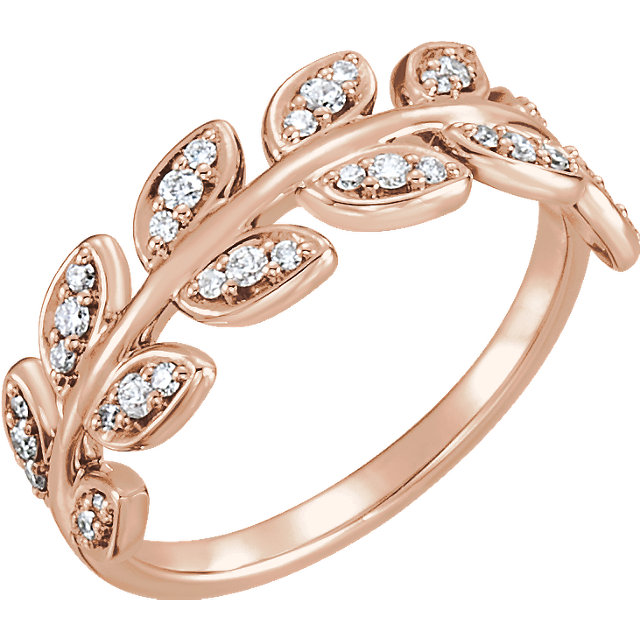 Shop 14 KT Rose Gold 0.25 Carat TW Diamond Leaf Ring