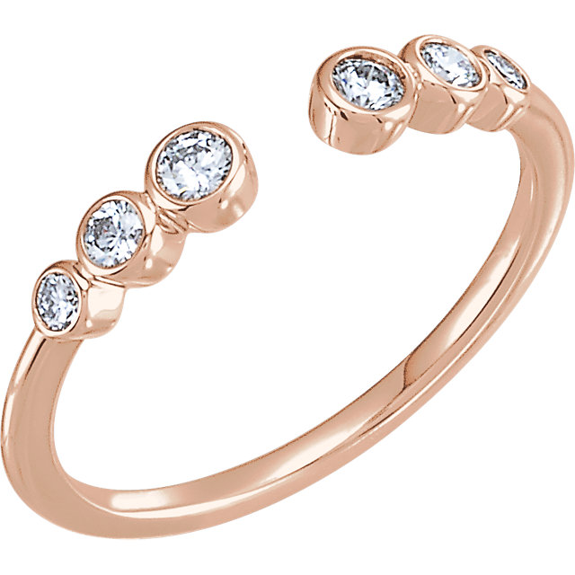 Must See 14 KT Rose Gold 0.25 Carat TW Diamond Negative Space Ring