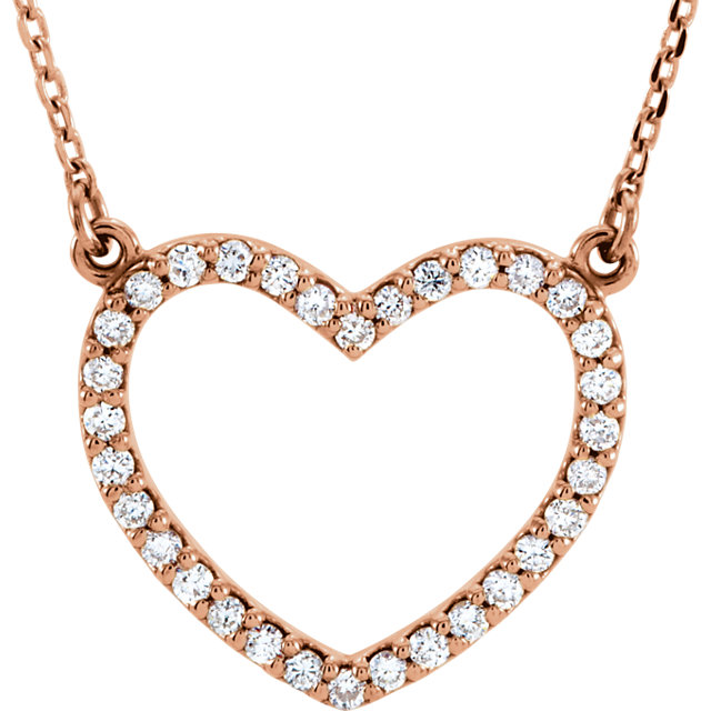 14 Karat Rose Gold 0.25 Carat Diamond Small Heart 16