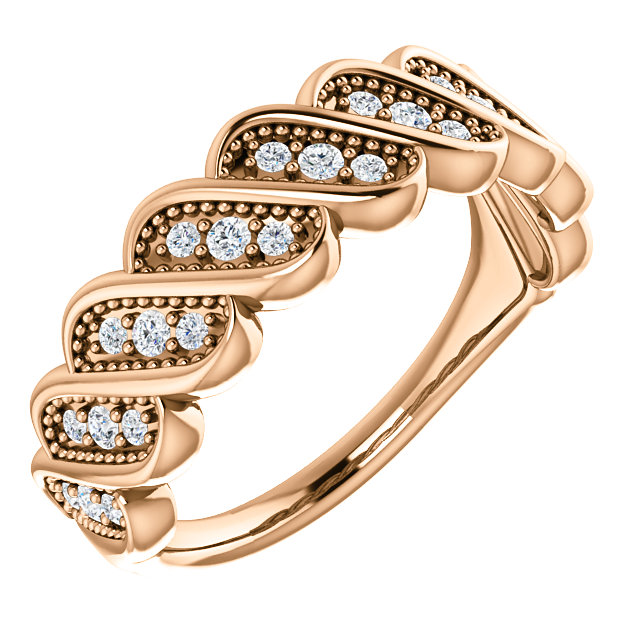 Perfect Jewelry Gift 14 Karat Rose Gold 0.25 Carat Total Weight Diamond Stackable Ring