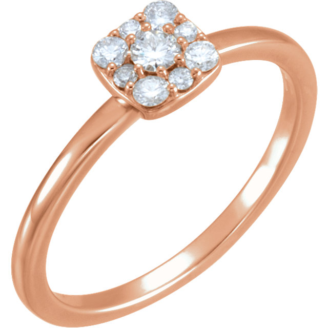 Appealing Jewelry in 14 Karat Rose Gold 0.25 Carat Total Weight Diamond Stackable Square Cluster Ring