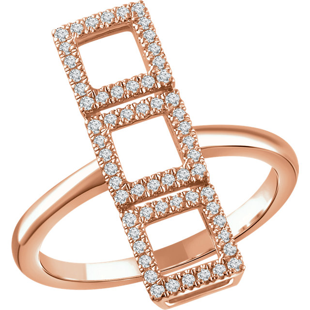 Shop 14 KT Rose Gold 0.25 Carat TW Diamond Triple Square Ring