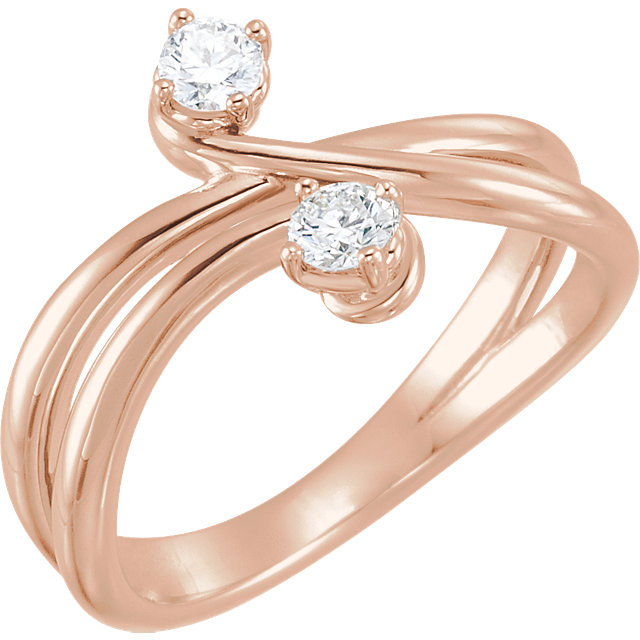 Low Price on 14 KT Rose Gold 0.25 Carat TW Diamond Two-Stone Ring