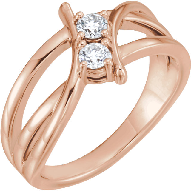 Shop Real 14 KT Rose Gold 0.25 Carat TW Diamond Two-Stone Ring