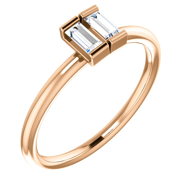 Low Price on Quality 14 KT Rose Gold 0.25 Carat TW Diamond Two-Stone Ring