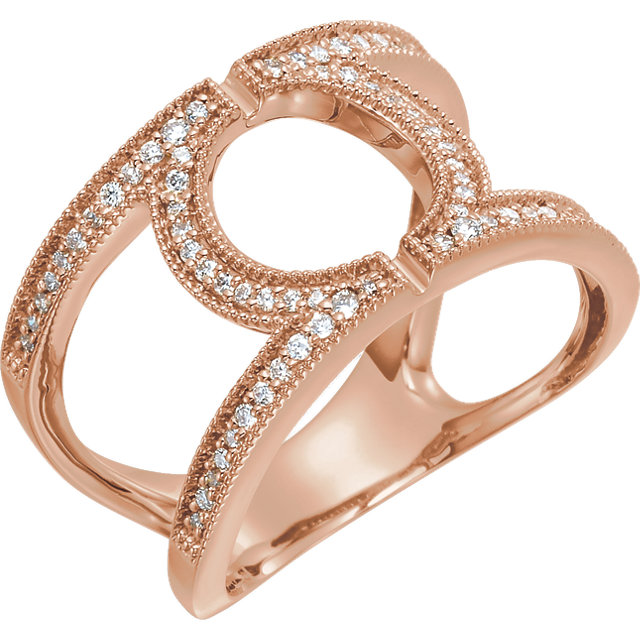 14 KT Rose Gold 0.25 Carat TW Round Geometric Diamond Ring