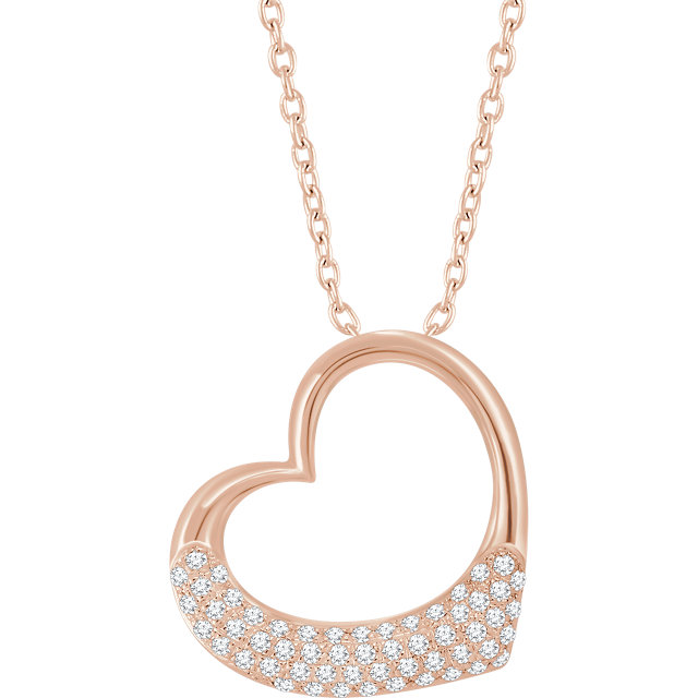 Chic 14 Karat Rose Gold 0.20 Carat Total Weight Diamond Heart 16-18