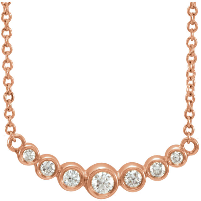 Contemporary 14 Karat Rose Gold 0.20 Carat Total Weight Diamond 16-18