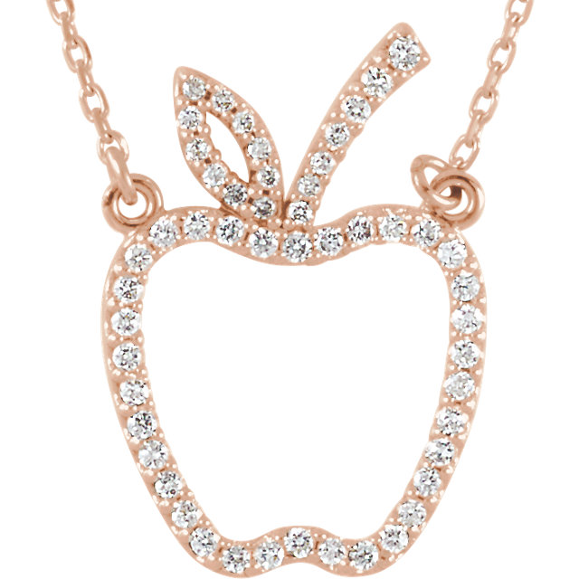 14 Karat Rose Gold 0.20 Carat Diamond Apple 16.7