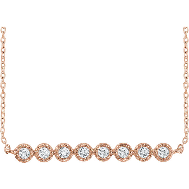Great Buy in 14 Karat Rose Gold 0.20 Carat Total Weight Diamond Bar 16-18