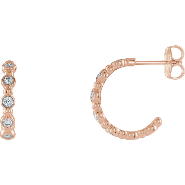 Appealing Jewelry in 14 Karat Rose Gold 0.20 Carat Total Weight Diamond Beaded Hoop Earrings