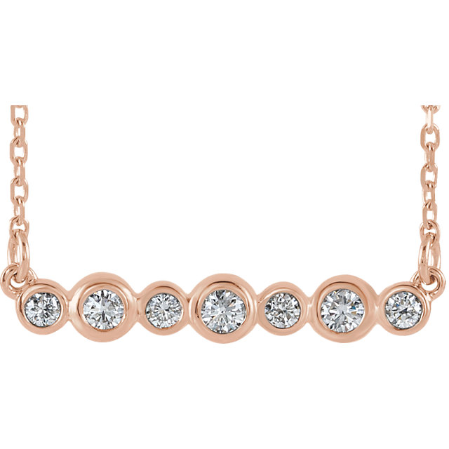 Surprise Her with  14 Karat Rose Gold 0.20 Carat Total Weight Diamond Bezel-Set Bar 16-18