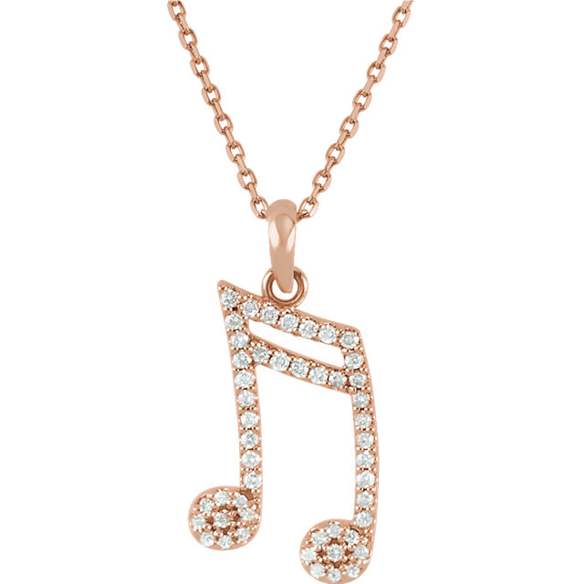 14 Karat Rose Gold 0.20 Carat Diamond Double Sixteenth Note 16